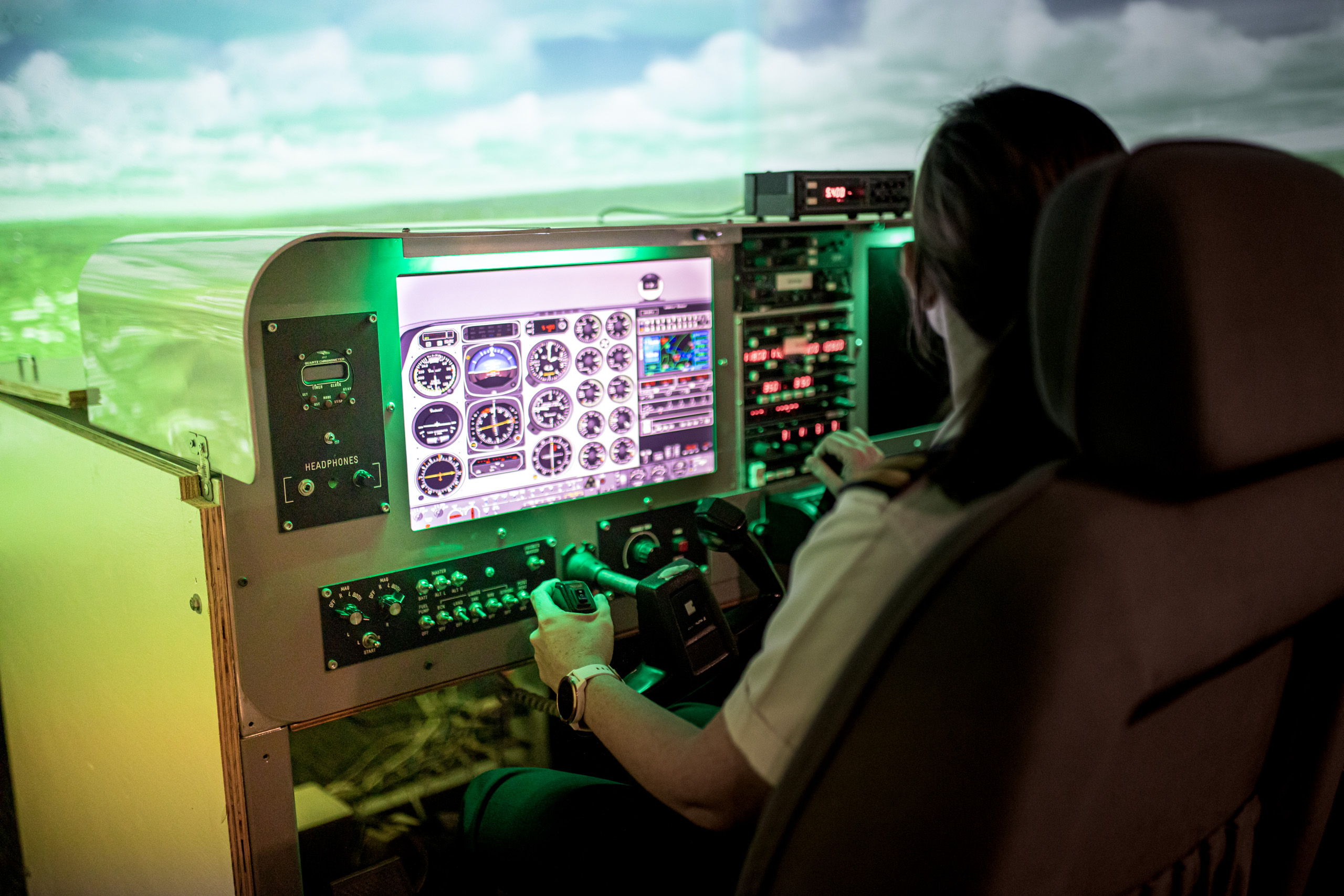 comprehensive training resource set, with an on-site flight simulator, extensive, modern fleet, and skilled, customer oriented flight instructors.